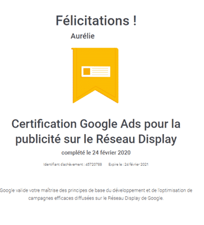 certification google ads réseau display