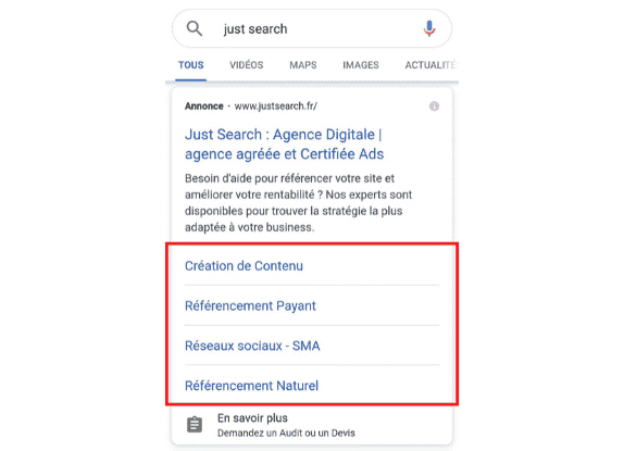 extensions de liens annexes mobile