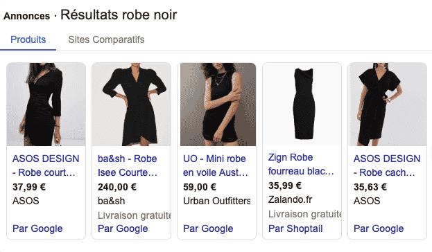 résultat robe noir